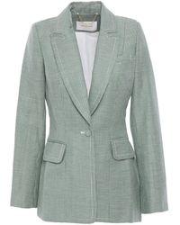 Zimmermann Houndstooth Linen And Wool-blend Blazer Green