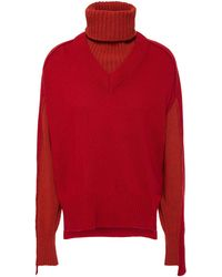Cedric Charlier Convertible Wool-blend Turtleneck Jumper - Red
