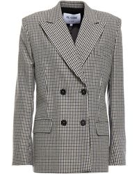 RE/DONE 70s Double-breasted Checked Wool-blend Blazer - Multicolour