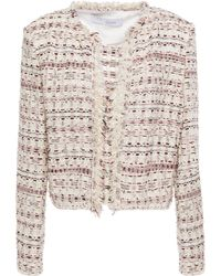 IRO Locali Cropped Frayed Bouclé-tweed Jacket Ecru - Multicolour