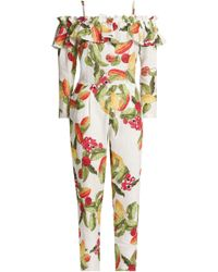 Isolda - Woman Cold-shoulder Printed Linen Jumpsuit White Size 6 - Lyst