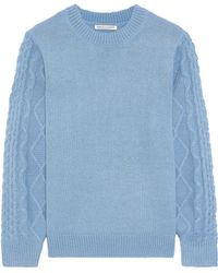Rebecca Minkoff - Woman Penny Cable Knit-paneled Knitted Jumper Blue - Lyst