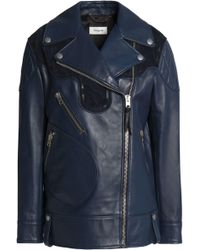 COACH - Suede-trimmed Leather Biker Jacket - Lyst
