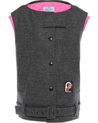Prada Oversized Belted Wool Vest Dark Grey