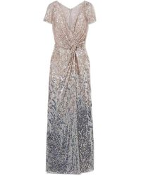 Jenny Packham Blondell Wrap-effect Ombré Sequined Tulle Gown - Multicolour