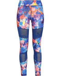 adidas - Printed Mesh-paneled Stretch Leggings - Lyst