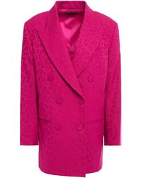 Dundas Double-breasted Wool-blend Jacquard Blazer - Pink