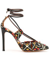 Valentino - Lace-up Printed Textured-leather Court Shoes - Lyst