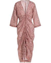 Day Birger et Mikkelsen - Woman Ruched Printed Cotton Dress Brick Size 32 - Lyst