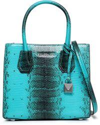 MICHAEL Michael Kors Snake-effect Leather Shoulder Bag Teal - Blue