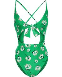 ViX Petals Bandana Knotted Cutout Floral-print Swimsuit - Green