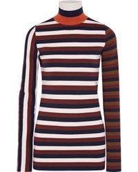 Victoria Beckham - Striped Stretch Wool-blend Turtleneck Sweater - Lyst