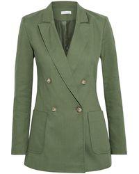 Iris & Ink - Dora Double-breasted Cotton-blend Canvas Blazer Leaf Green - Lyst