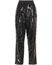 Dundas Faille-trimmed Sequined Woven Tapered Pants - Black
