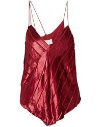 Michelle Mason Asymmetric Devoré-velvet Camisole - Red