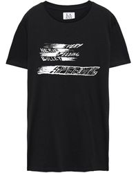 Zoe Karssen Printed Cotton-jersey T-shirt Black