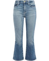 FRAME Le Crop Mini Boot Faded High-rise Kick-flare Jeans Mid Denim - Blue