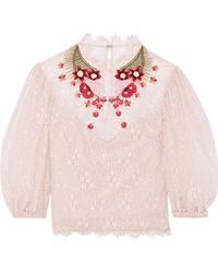 Temperley London Leo Embroidered Lace Top - Natural