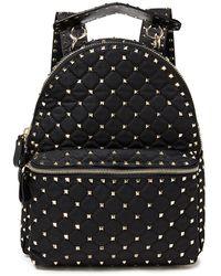 Valentino Garavani Rockstud Spike Leather-trimmed Quilted Shell Backpack - Black