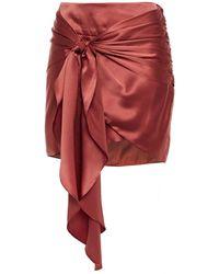Michelle Mason Knotted Draped Silk-charmeuse Mini Skirt - Red