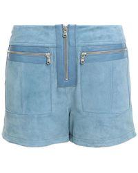 Victoria, Victoria Beckham Leather-trimmed Zip-detailed Suede Shorts Light Blue