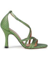 Ganni Wilma Lizard-effect Leather Sandals Bright Green