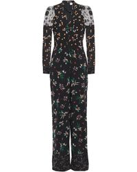 RED Valentino Lace-paneled Floral-print Stretch-silk Jumpsuit - Black