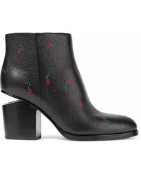 Alexander Wang Woman Gabi Floral-print Textured-leather Ankle Boots Black