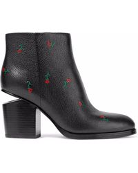 Alexander Wang - Gabi Floral-print Textured-leather Ankle Boots - Lyst