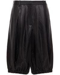 Tibi Celia Pleated Satin Shorts - Black