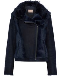 Yves Salomon - Panelled Shearling And Suede Biker Jacket - Lyst