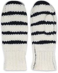 Rag & Bone Striped Wool Mittens Ivory - White