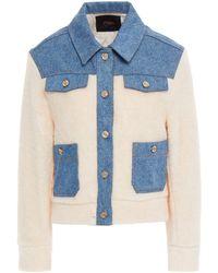 Maje Jacke aus shearling-imitat mit denim-einsätzen - Weiß