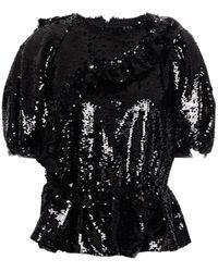 Simone Rocha Ruffled Sequined Tulle Peplum Top - Black
