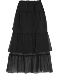 Sonia Rykiel - Ruffled Tiered Silk-georgette Maxi Skirt - Lyst