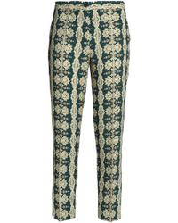 Etro - Printed Crepe Tapered Pants Dark Green - Lyst