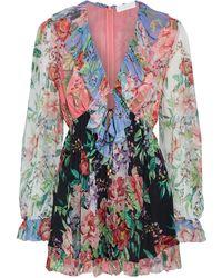 Zimmermann Bellitude Ruffled Floral-print Silk-crepon Playsuit - Multicolour