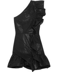 Isabel Marant - Lavern One-shoulder Ruffled Coated Cotton-blend Mini Dress - Lyst