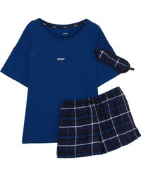 DKNY - Printed Jersey And Checked Flannel Pyjama Set Navy - Lyst