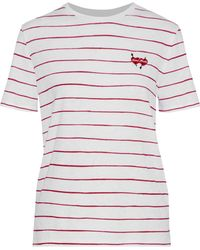 Zoe Karssen - Woman Embroidered Striped Cotton And Linen-blend T-shirt White Size Xs - Lyst