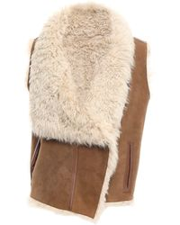 Meteo by Yves Salomon Reversible Leather-trimmed Shearling Vest Light Brown