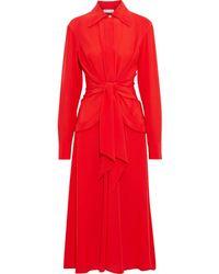 Victoria Beckham Draped Silk Crepe De Chine Midi Dress Tomato Red