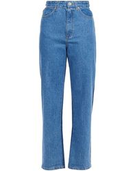 Sandro Two-tone High-rise Straight-leg Jeans Light Denim - Blue