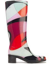 Emilio Pucci Printed Glossed-rubber Rain Boots - Black