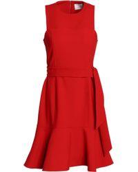 Cinq À Sept - Belted Fluted Crepe Dress - Lyst