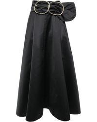 Nina Ricci Belted Duchesse Satin Maxi Skirt Black