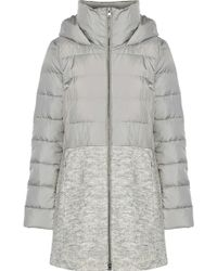 SOIA & KYO - Woman Valery Bouclé-paneled Quilted Shell Down Hooded Coat Light Grey - Lyst