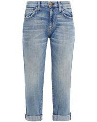 Current/Elliott The Fling Cropped Distressed Mid-rise Slim-leg Jeans Mid Denim - Blue