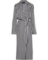 RTA Karina Striped Silk Trench Coat Black