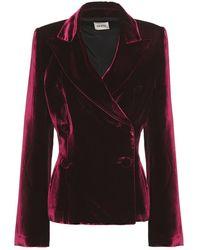 Khaite Double-breasted Velvet Blazer Merlot - Black